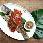 Violet Oon Clarke Quay Sea bass with hae bee hiam sauce